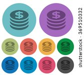 color dollar coins flat icon...