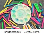 Pieces Of Color Chalk Scattere...