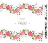 seamless border of lovely roses ... | Shutterstock .eps vector #369617636