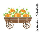 old wagon with a pumpkin | Shutterstock .eps vector #369641018