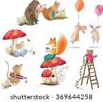 basket with rabbit  rabbit red... | Shutterstock .eps vector #369644258