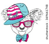 cute koala in a cap and a tie.... | Shutterstock .eps vector #369661748