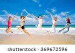 on a beach jumping wild  | Shutterstock . vector #369672596