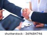 business people shaking hands ... | Shutterstock . vector #369684746