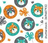 seamless lion pattern vector... | Shutterstock .eps vector #369687932