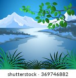 lake scene vector nature... | Shutterstock .eps vector #369746882