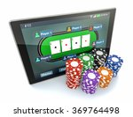 tablet pc with a poker app and... | Shutterstock . vector #369764498