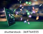 tablet pc with a poker app and... | Shutterstock . vector #369764555