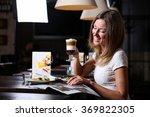 beautiful girl is drinking a... | Shutterstock . vector #369822305