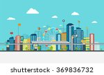 smart city with business signs. ... | Shutterstock .eps vector #369836732