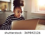 pretty black teen girl watching ... | Shutterstock . vector #369842126