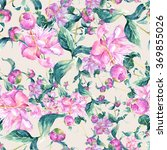 pink peonies seamless pattern | Shutterstock . vector #369855026