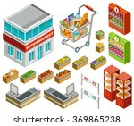 isometric supermarket set | Shutterstock .eps vector #369865238
