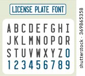 license plate font. car... | Shutterstock .eps vector #369865358