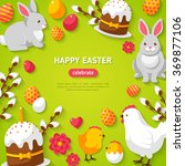 Happy Easter Green Background...