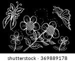 doodle floral with butterflies | Shutterstock .eps vector #369889178