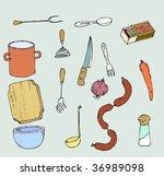 a set of 15 kitchen utensils... | Shutterstock .eps vector #36989098