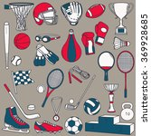 hand drawn collection of sports ...   Shutterstock .eps vector #369928685