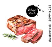 watercolor ribeye steak.... | Shutterstock . vector #369946268