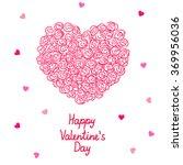 valentine heart made of roses ... | Shutterstock .eps vector #369956036
