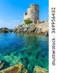 Medieval Tower On Coast Of...