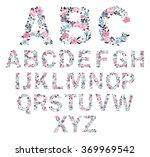 Floral Alphabet. Vector...