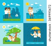 flat design dating couple set... | Shutterstock .eps vector #369995672