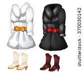 Two Fur Coats And Boots. Vector.