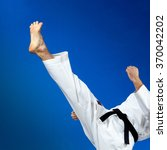 man in karategi beats a... | Shutterstock . vector #370042202