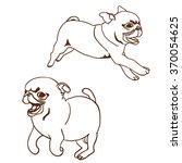 set of two pug puppies. hand... | Shutterstock .eps vector #370054625