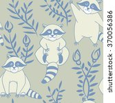 seamless pattern with  raccoons.... | Shutterstock .eps vector #370056386
