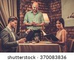 waiter taking order from... | Shutterstock . vector #370083836