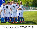coach giving young soccer team... | Shutterstock . vector #370092512