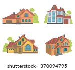 collection of four houses flat... | Shutterstock .eps vector #370094795