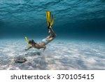 underwater shot of the lady... | Shutterstock . vector #370105415
