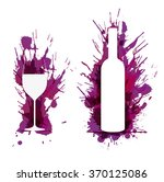 wine glass and bottle in front... | Shutterstock .eps vector #370125086