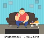fat man sitting at home on the... | Shutterstock .eps vector #370125245
