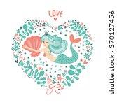 cute card with mermaid in love. ...   Shutterstock .eps vector #370127456