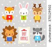 vector set forest  baby animals ... | Shutterstock .eps vector #370129502
