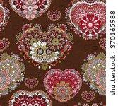 seamless lace pattern of heart...   Shutterstock .eps vector #370165988