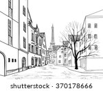 Paris street. Cityscape - houses, buildings and tree on alleyway with Eiffel tower on background. Old city view. Medieval european city landscape. Pencil drawn vector sketch