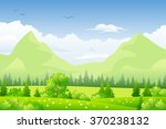 summer landscape with meadows... | Shutterstock .eps vector #370238132
