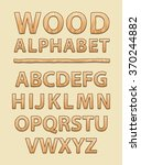 wooden alphabet and font style  ... | Shutterstock .eps vector #370244882