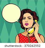Girl Talking On Phone. Vector...
