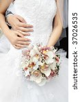 bride and groom hands on white... | Shutterstock . vector #37026535