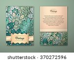 vintage cards with floral... | Shutterstock .eps vector #370272596