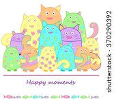 funny colorful cats with fish.... | Shutterstock .eps vector #370290392