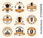 coffee set of nine colored... | Shutterstock .eps vector #370308908