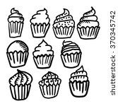 set of hand drawn cupcakes. ... | Shutterstock .eps vector #370345742