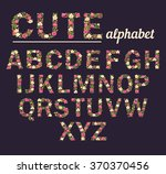 Floral alphabet. Vector isolated illustration on background